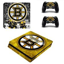 PS4 Slim Console Game Vinyl Skin Boston Bruins NHL Sticker decal Cover Wraps Set