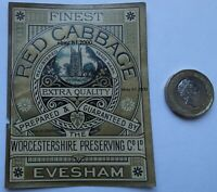 VERY  RARE ANTIQUE BELL TOWER EVESHAM  RED CABBAGE JAR LABEL