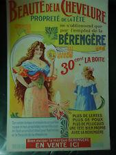 Carton Publicitaire Ancien  Bérengère  Beauté Chevelure  Art Nouveau 02