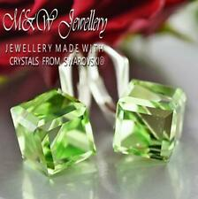 925 Sterling Silver Earrings CUBE 8mm - Peridot Crystals From Swarovski®
