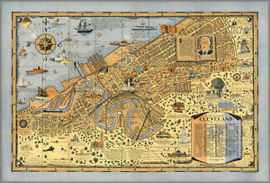 Vintage Cleveland Ohio 1928 Pictorial Map - Ready to Frame