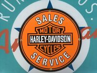 classic HARLEY DAVIDSON SALES - SERVICE porcelain coated 18 GAUGE steel SIGN