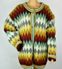 YETI Hand Knitted Sweater Womens XL Multicolored Jacket Granny Thick Cardigan