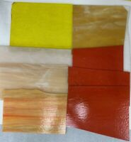 Lot 7 Pieces Premium Stained Glass 5 Lbs Yellow Peach Orange Tan Pink