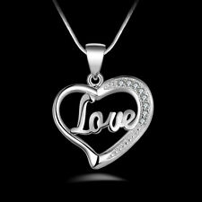 Fashion Girls&Women Silver Plated Love Heart Chain Pendant Necklace Jewelry New