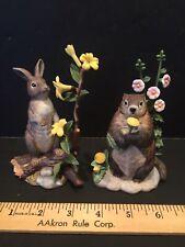 Lenox Woodland Animals - Rabbit And Groundhog - Pair Of Figurines - Wow!
