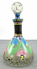 Hand Painted Glass Wine decanter Blue Pink Green Yellow Flower Pattern