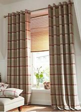 Hudson Woven Check Jacquard Lined Ring Top Curtains - Green, Grey, Red & Blue