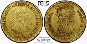 G027 Very rare COLOMBIA. 1762-J 4 Escudos gold. Popayan mint.  PCGS XF Details