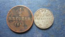 Altdeutschland Württemberg 1 Kreuzer 1867, 1/2 Kreuzer 1844 in ss-  (1226)