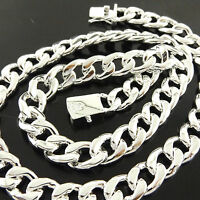 FSA413 GENUINE REAL 925 STERLING SILVER S/F SOLID MENS CURB CUBAN NECKLACE CHAIN