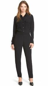 MADEWELL Womens PULL-ON JUMPSUIT Black Viscose Crepe Long Sleeve Tapered Ankle S