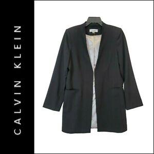 Calvin Klein Woman Open Front Longer Length Blazer Suit Size 12 Black