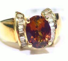Vintage Estate 14K Gold Natural Zircon Diamond Anniversary Ring 3.01CT Deco