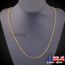 Men Jewelry 24Inch 18k Gold Plated Round Box Chain Stylish Necklace Banquet Gift