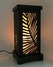 Asian Oriental Wood Cut Thai Vintage Lamp Shade Handmade Maple Leaf Bamboo Decor