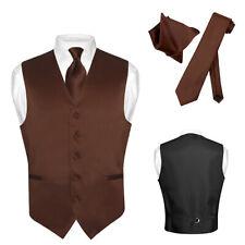 Men's Dress Vest NeckTie Hanky CHOCOLATE BROWN Neck Tie Set for Suit Tuxedo XL