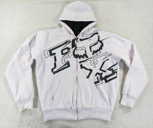 Fox Racing Sherpa Lined Full Zip Hoodie Jacket White Black Men's Size XL Logo