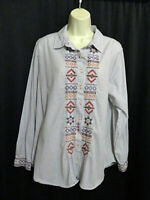 3J Workshop Johnny Was Tunic Top Pin Stripes Smocked Embroidery Cotton Size L