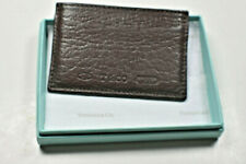 Tiffany & Co 1837 T & Co  Brown Grain Leather Card Case Holder Wallet w Orig Box