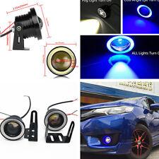 2x 3in Blue/White Car COB Lamp LED Fog Light Driving Light Angel Eye Rings DRL