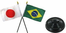 "Japan Japanese & Brazil Brazilian Flags 4""x6"" Desk Set Table Black Base"