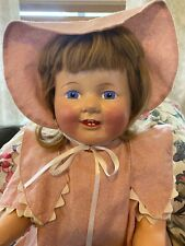 "1930's composition mama doll 30"" human hair painted eyes toddler size"