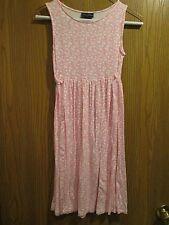 Oscar de la Renta Pink White Sleeveless Floral Stretch Dress Size 14Y