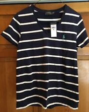 Ralph Lauren Women's 100% Cotton Blue/White V-Neck T-Shirt  Size M