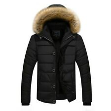 Men Warm Hooded Cotton Padded Jacket Outwear Fleece Lined Brushed Quilted Coat L