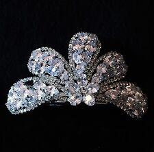 BARRETTE using Swarovski Crystal Hair Clip Hairpin Bridal Wedding Bowknot Silver