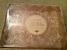 BNWT New Laura Ashley Set of 6 Glass Stags Christmas Tree Decorations