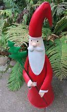 XL Figura Santa Babbo Natale 75 Metallo cm Decorativa Dipinto a Mano