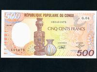 Congo:P-8d,500 Francs,1991 * Statue * UNC *