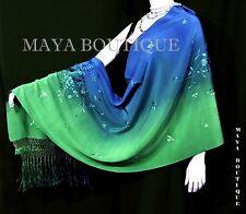 Embroidered Silk Wrap Shawl Scarf Hand Dyed Emerald & Sapphire Maya Matazaro