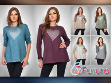 Unique Womens Top With Heart Casual Long Sleeve Blouse Crew Neck FT518