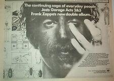 "FRANK ZAPPA Joe's Garage 2&3 1980 UK Poster size Press ADVERT 12x8"""