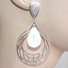 ORECCHINI donna argento pendenti pietra bianca avorio ragazza earrings CC12