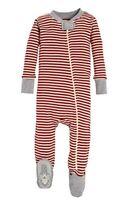 Burt's Bees Baby Unisex Organic Cotton Red Striped Sleep & Play Pajamas (12M)
