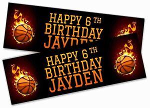 x2 Personalised Birthday Banner Basketball Children Kids Party Decoration 385