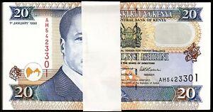 Kenya 20 Shillings 1996, UNC, BUNDLE, Pack of 100 PCS, P-35a2, Black Signature