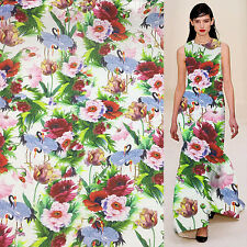 China Red-crowned Crane and floral print silk blend linne fabric 21momme,Sln081