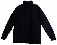 Mens Black Military Style Jacket Classic Padded Coat Funnel Neck Size Medium