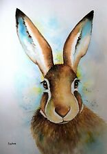 """""""HARE"""" EXTRA LARGE A2 23.5 x 16.5"""" ORIGINAL Watercolour Painting . Maria Moss"""
