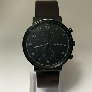 Skagen Mens SKW6359 Dial Black Leather Movement Quartz Analog Wristwatch