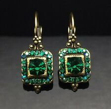SWAROVSKI Antique Lantern Emerald Green Crystal Earring Wedding Diamante Gold