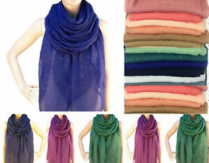 Plain shimmer pattern maxi large scarf shawl sarong viscose glitter hijab GTrScF