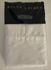 New Ralph Lauren RL 624TC Pillowcases Pair Cotton Sateen Deco White Standard