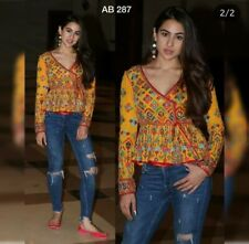 New Sara Ali Khan Navratri Special Kedia Top Rajasthani Style Yellow Peplum Top