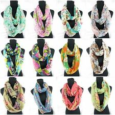 US SELLER-12pcs retro vintage flowers infinity scarf Scarves in Bulk for Women